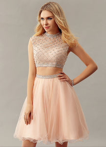 Stunning Sleeveless High Neckline Two-Piece A-Line Cocktail Dress With Beads
