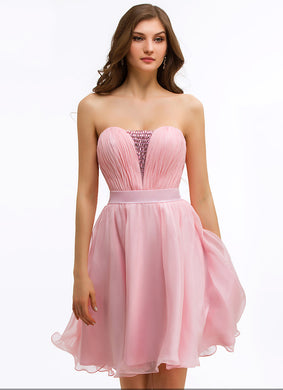 Stunning Strapless Pleated Sweetheart Neck Chiffon A-Line Cocktail Dress With Rhinestones