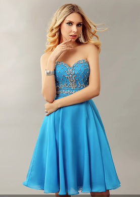 Stunning Strapless Sweetheart Neckline A-Line Cocktail Dress With Beads