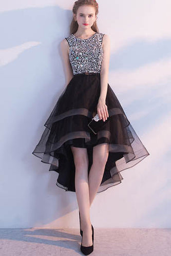 Stylish Black Jewel Neckline Backless High Low Ruffled Prom Dress With Rhinestones
