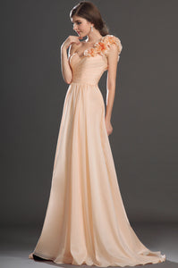 Stylish Single-Shoulder Sweetheart 3-D Appliques A-Long Dress With A-Line Silhouette