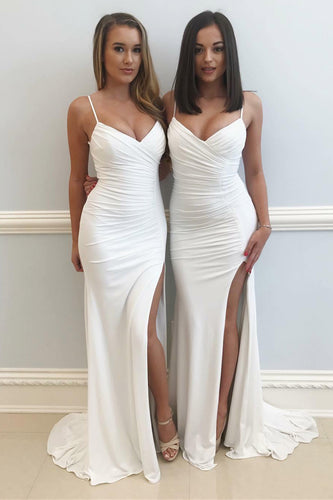 Sultry White Fitted Long Dress With Spaghetti Straps And Ruched Details