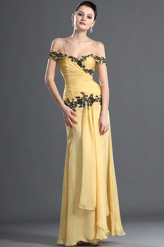surplice-appliqued-yellow-chiffon-dress-with-spaghetti-straps-draped-sleeves