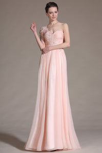 Sweet Pink Single-Shoulder Beaded Column Empire Long Dress