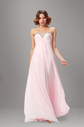 Sweet Pink Strapless Beaded Neckline Loose A-Line Long Dress
