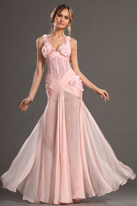 Sweet Yet Sultry Sheer Illusion Appliques Pink Long Dress