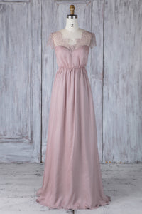 Sweetheart Cap Sleeve Wisteria Chiffon Floor-Length Bridesmaid Dress With Lace