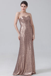Sweetheart Fully Sequined Flattering Long Bridesmaid Dress