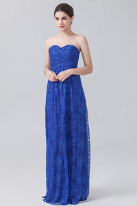Sweetheart Lace Blue Column Bridesmaid Dress