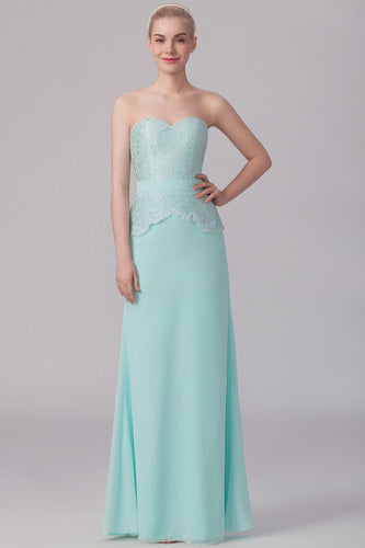 Sweetheart Lace Chiffon Mint Column Bridesmaid Dress