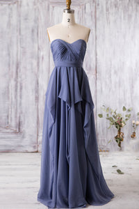 Sweetheart Ruched Empire Asymmetrical A-Line Long Bridesmaid Dress