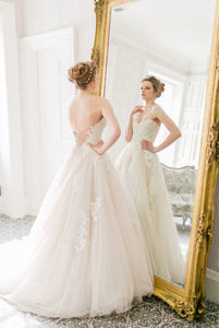 Sweetheart Strapless Backless Tulle A-Line Wedding Dress With Lace Applique