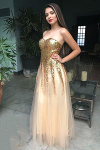 Sweetheart Strapless Floor-Length Tulle Prom Dress With Sequins