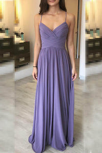 Tahiti Spaghetti Pleated Deep V Neckline Criss Cross Back Floor Length Bridesmaid Dress