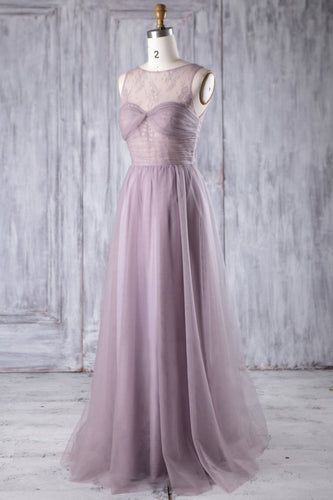 Tahiti Tulle Jewel Neck Floor-Length Bridesmaid Dress With Lace