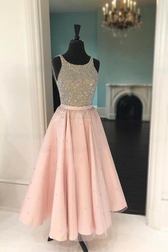 Tea-Length Blush Dress With Beaded Scoop Neckline Bodice And A Flaring Skirt