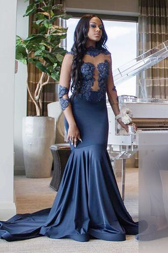 Trumpet High Neck 3/4 Sleeve Court Train Illusion Prom Dress With Applique