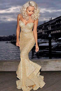 Trumpet Spaghetti Strap Gold Sequin Prom Dress With Ruffles