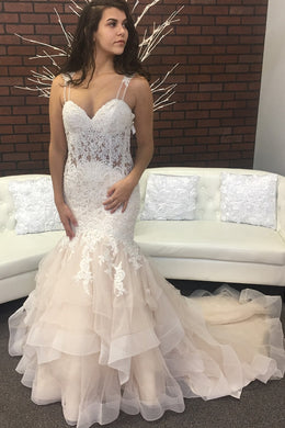 Trumpet Strap Sweetheart Organza Court Train Bridal Dress With Sequinned Lace Bodice