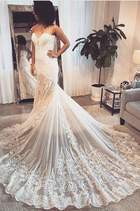 Trumpet Sweetheart Strapless Court Train Lace Illusion Bridal Dress