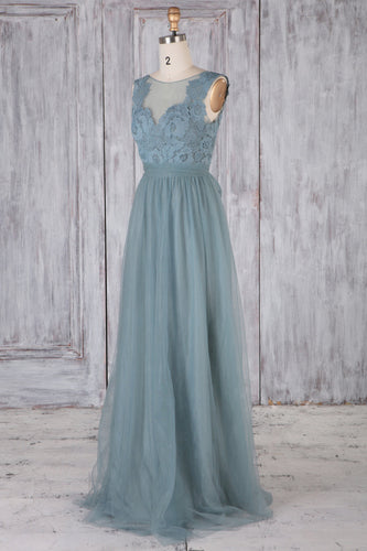 Tulle Backless Sheer Neck Sweep Train Bridesmaid Dress With Lace Bodice