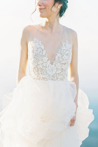 Tulle Deep V-Neck Sweep Train Illusion Wedding Dress With Lace