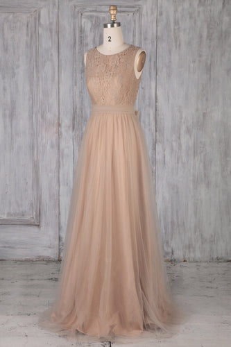 Tulle Jewel Neck Sweep Train Bridesmaid Dress With Lace Bodice