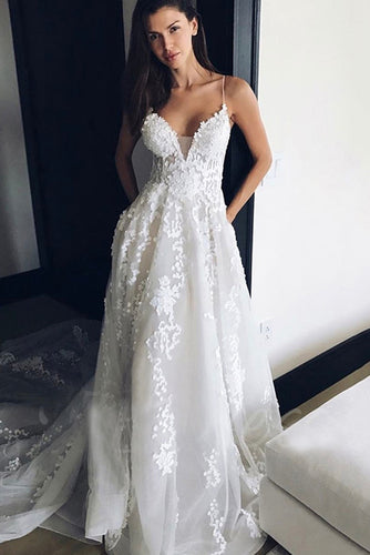 Tulle Open Back Spaghetti Strap V-Neck Court Train Wedding Dress With Lace Applique