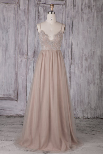 Tulle Spaghetti Strap A-Line Sweep Train Bridesmaid Dress With Lace Bodice