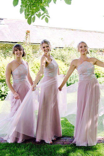 Tulle Spaghetti Strap Floor-Length Bridesmaid Dress With Paillette
