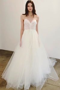 Tulle Sweetheart Spaghetti Strap Sweep Train Bridal Dress With Illusion Lace Bodice