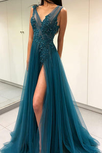 Turquoise Tulle Beaded Appliqued V-Neck A-Line Long Dress