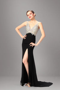 Two-Color V-Neck V-Back Beaded Chiffon Empire Long Dress With Side Slit