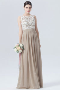 Two-Colour Guipure Lace Chiffon Bridesmaid Dress