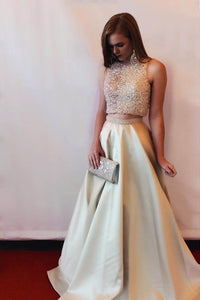 Two-Piece Beaded Gold Cut-In-Shoulders A-Line Flaring Long Dress