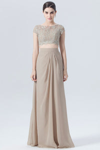 Two-Piece Cap-Sleeved Embroidered Chiffon Bridesmaid Dress