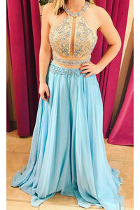 Two-Piece Champagne-Blue Chiffon Long Dress With Beading Details