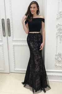 Two-Piece Jersey-Lace Figure-Flattering Black Long Dress With A Tulle Overlay