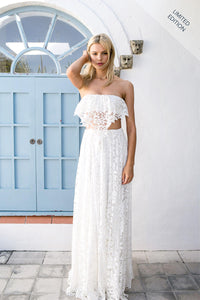Two-Piece Lace Wedding Dress With Strapless Crop Top And Floor Length Skirt