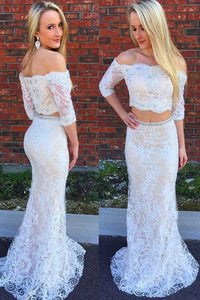Two-Piece Off-The-Shoulder 1/2 Sleeve Lace Sheath Bridal Dress With Beads