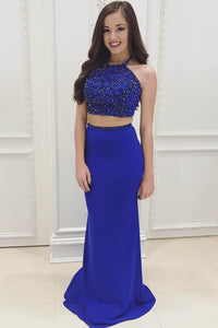 Two-Piece Royal-Blue Column Long Dress With Halter Beaded Top And A Floor-Length Skirt