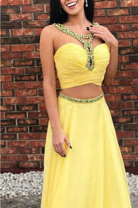 Two-Piece Sweetheart Ruched Chiffon Prom Dress With Rhinestones