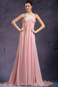 Ultra-Comfortable Empire Pink Floor-Length Chiffon Dress With Lace Halter Straps