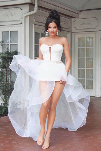Unique White Strapless Sweetheart Neckline Sheer Tulle High Low Prom Dress With Pearls