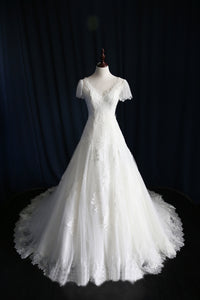 V-Neck Cap Sleeve A-Line Court Train Lace Wedding Dress With Sequins
