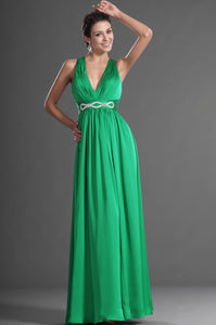 V-Neck Key-Hole Back Empire Waist Band Green Long Dress
