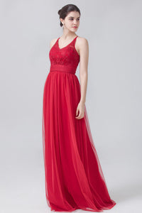 V-Neck Lace Empire Tulle Red Column Bridesmaid Dress