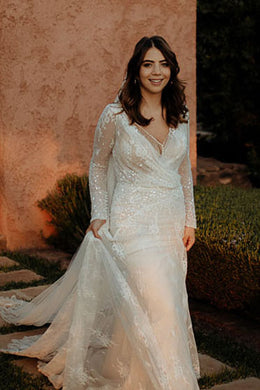 V-Neck Long Sleeve Lace Illusion Mermaid Wedding Dress With Beads & Sequins
