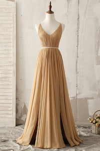 Sexy V-Neck Sleeveless Backless Long Solid Pleated Chiffon Bridesmaid Dress