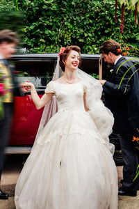 Vintage Bateau Cap-Sleeved Wedding Ball Gown